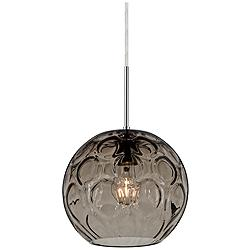 "Besa Bombay 9 3/4""W Smoke Glass Satin Nickel Mini Pendant"