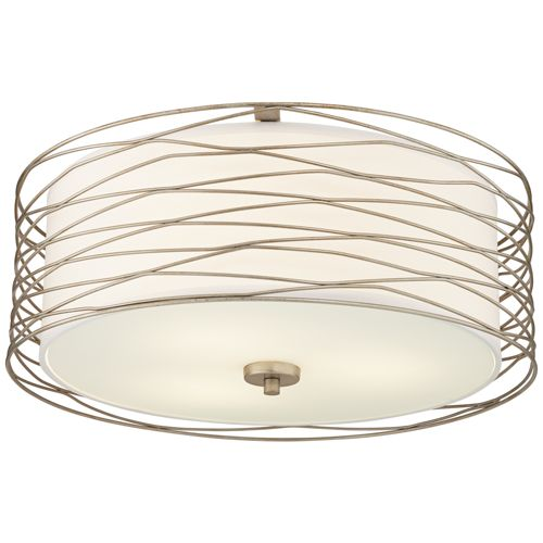 "Possini Euro Rivulet 18""W Spun Silver Metal Ceiling Light"