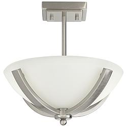 "Arthur 14""W Brushed Nickel Frosted White Bowl Pendant Light"