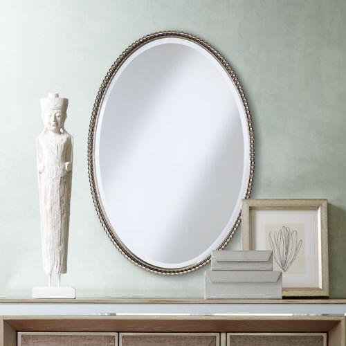 "Uttermost Sherise Brushed Nickel 22"" x 32"" Oval Wall Mirror"