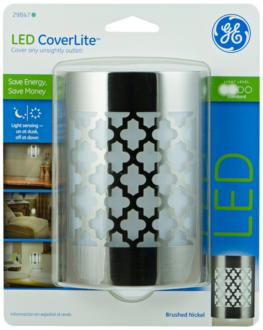 GE Coverlite Moroccan Brushed Nickel LED Night Light (9F388)