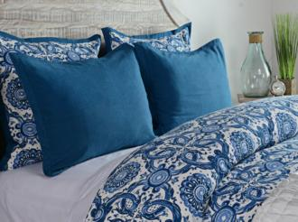 Resort Marine Blue Printed King Pillow Sham (9G951)