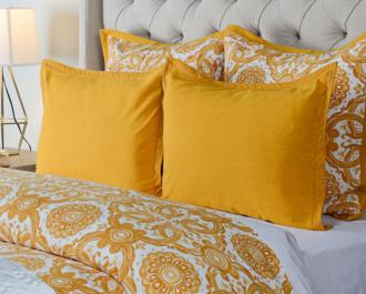 Resort Mango Yellow Printed King Pillow Sham (9G969)