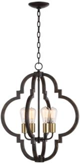 "Ayoura 20"" Wide Wood Grain 4-Light LED Pendant Chandelier (9H235)"