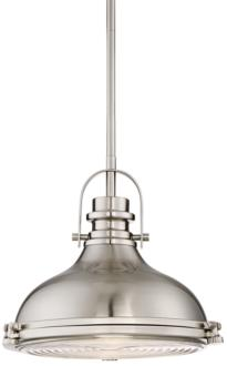 "Verndale 11 1/2""W Brushed Nickel Industrial Mini Pendant (9H252)"