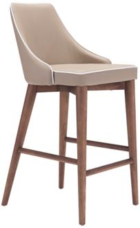 "Zuo Moor 26"" Beige Leatherette Metal Counter Chair (9K252)"