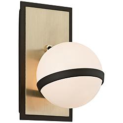 "Ace 9"" High Textured Bronze and Brushed Brass Wall Sconce"