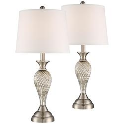 Arden Brushed Nickel Twist Column Table Lamp Set of 2