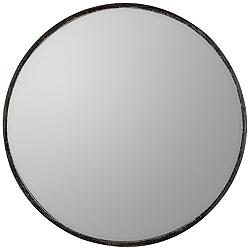 "Wythburn Rubbed Gray 26"" Round Iron Wall Mirror"