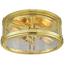 "Coby 13"" Wide Polished Gold 2-Light Ceiling Light"