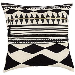 "Cosmic Black Geometric 22"" Square Throw Pillow"