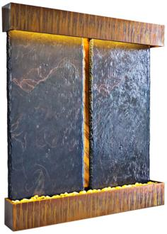 Nojoqui Falls Dual Panel Copper and Slate Wall Fountain (F9005)