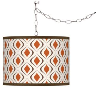 Retro Lattice Swag Style Giclee Shade Plug-In Chandelier (F9542-4J262) F9542-4J262