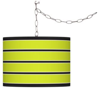 Swag Style Bold Lime Green Stripe Shade Plug-In Chandelier (F9542-G4285)