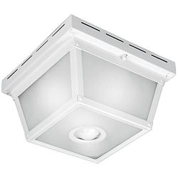 "Benson White 9 1/2"" Wide Motion Sensor Outdoor Ceiling Light"
