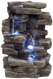 "Faux Slate Stone Waterfall 14"" High Tabletop Fountain (J3442)"