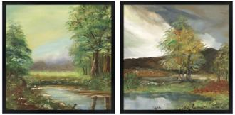 set of two countryside spring square giclee wall art (k4121-m5439)
