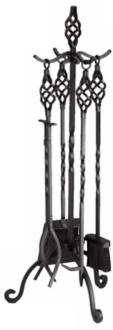 twist black finish 4-piece fireplace tool set with stand (l0071)