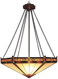 Aged Bronze Filigree Tiffany Style 3-Light Chandelier (M6108)