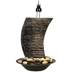 "Water Ripple 17 1/4"" High Lighted Table Fountain"