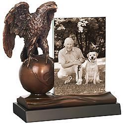 "Eagle on Globe 10"" High Photo Picture Frame"