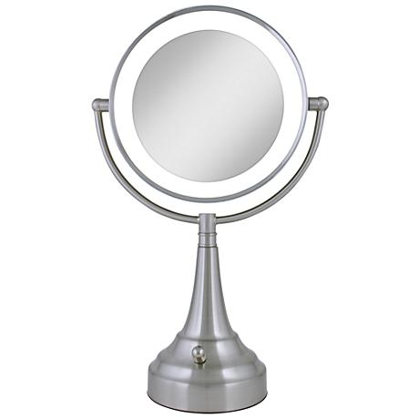 satin nickel mirror satin nickel finish led 18 quot high vanity mirror 2104