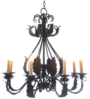 "Laura Lee Michelle 8-Light 33"" Wide Forged Iron Chandelier (R5335)"