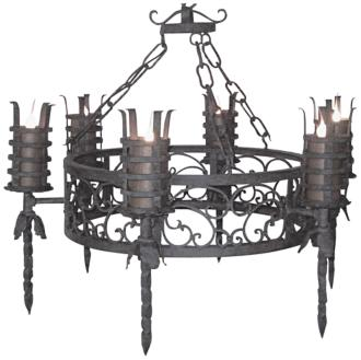 "Laura Lee Lancelot 6-Light 40"" Wide Iron Torch Chandelier (R5337)"