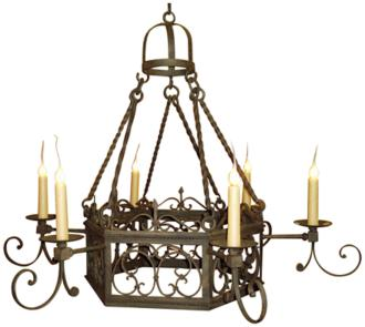"Laura Lee Mykonos 6-Light 47"" Wide Iron Chandelier (R5342)"