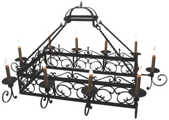 "Laura Lee Mykonos 10-Light 64"" Wide Forged Iron Chandelier (R5343)"