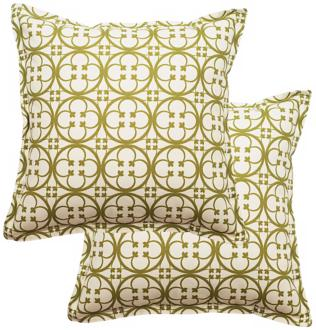 "set of 2 betsy 25"" square flanged edge outdoor pillows (t5947)"