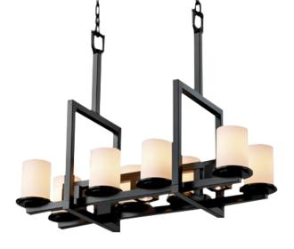 Bridge Black Artisanal Opal Eleven Light Island Chandelier (U1131)