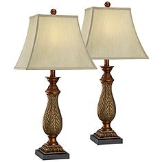 "Set of Two 2-Tone 29"" Traditional Table Lamps"