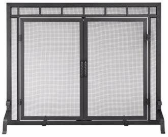 "flat 44"" wide black fireplace screen with center doors (u9501)"