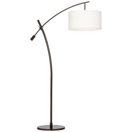 bronze boom arc floor lamp with linen shade v2695 87829