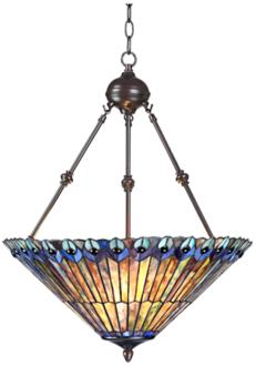 "Peacock Glass 3-Light 20"" Wide Tiffany Style Pendant Light (V7228)"