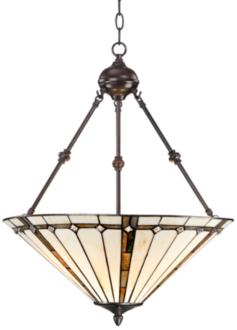 "Tiffany Style 3-Light Ivory 24"" High Glass Pendant Light (V7230)"