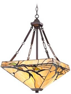 "Tiffany Style Budding Branch 27"" High Glass Pendant Light (V8460)"