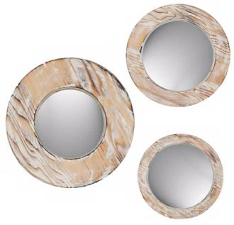 set of 3 decorative round washed wood wall mirrors (w1179)