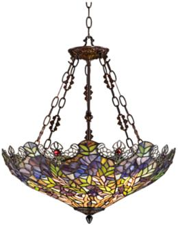 Floral Garden 3-Light Tiffany Glass Bowl Pendant (W3007)