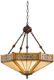 "Stratford 20 3/4"" Wide 3-Light Mission Tiffany Pendant Light (W3141)"