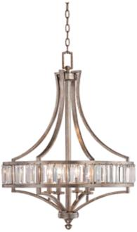 "Soft Silver 4-Light 24"" Wide Crystal Chandelier (W7027)"