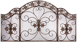 double fleur de lis folding fireplace screen (w7729)