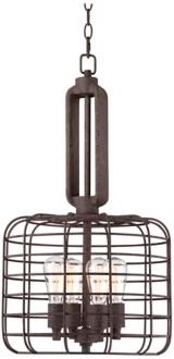 "Industrial Cage 14 1/2"" Wide Rust Metal Pendant Light (W8377)"