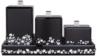 jeweled black mirror canister 4-piece bathroom accessory set (x0102)