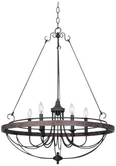 "Helena Bronze 6-Light 28"" Wide Forged Iron Chandelier (X3193)"