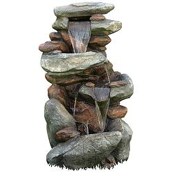 "Rock Waterfall 40"" High Outdoor Fountain with LED Lights"
