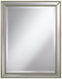 "beveled 32"" high antique silver wilton wall mirror (x6446)"