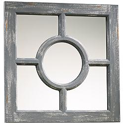 "Ashford Distressed Gray Wood 16 3/4"" Square Wall Mirror"