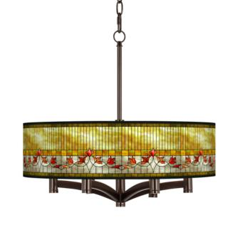 Tiffany-Style Lily Ava 6-Light Bronze Pendant Chandelier (X9844-36F12)